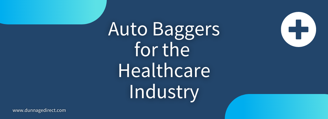 blue background with white text reading auto baggers for the healthcare industry in center