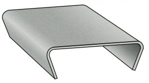 a grey metal snap on strapping seal
