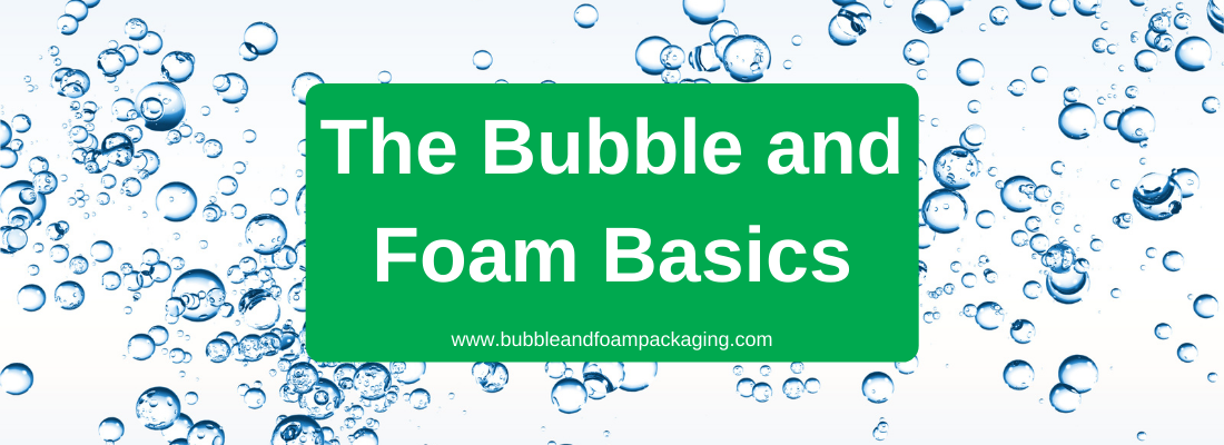 water bubbles floating on light blue background with text on green box that says the bubble and foam basics