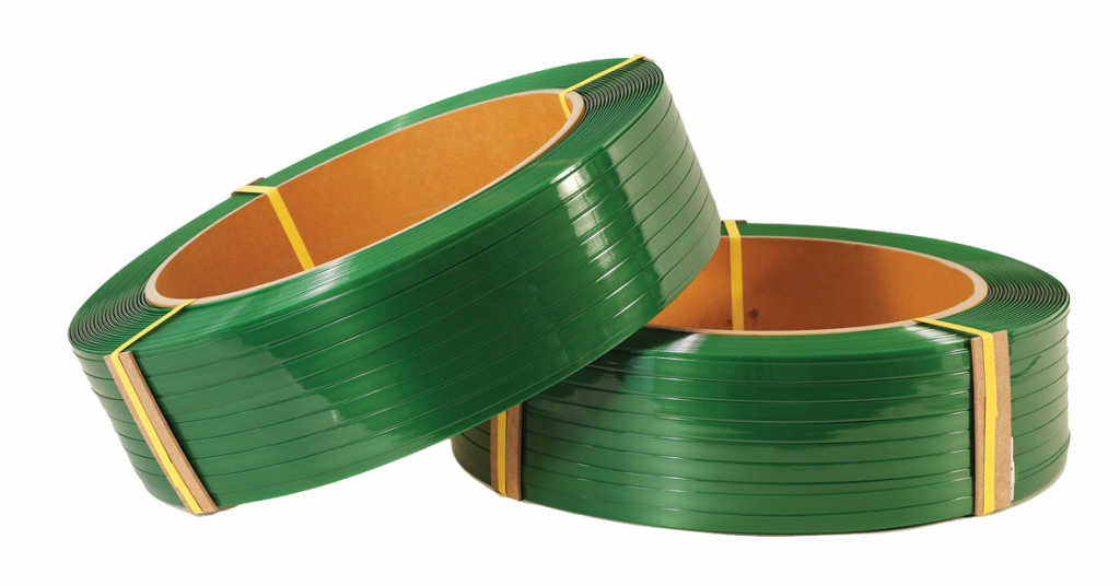 two bundles of green poly strapping stacked on one another